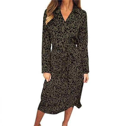 SMILEQ Vestido de Mujer con Estampado de Leopardo, Vestido de Bola con Cuello en V