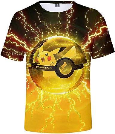 Camisetas, Camiseta De Manga Corta Casual con Personalidad De La Moda Pokémon Unisex Pikachu Impresa 3D En 3XL_Golden: Amazon.es: Ropa y accesorios