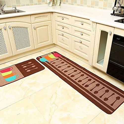 Home and Kitchen Rugs 2 Pieces 4 Size Decorative Non-Slip Rubber Backing  Doormat Runner