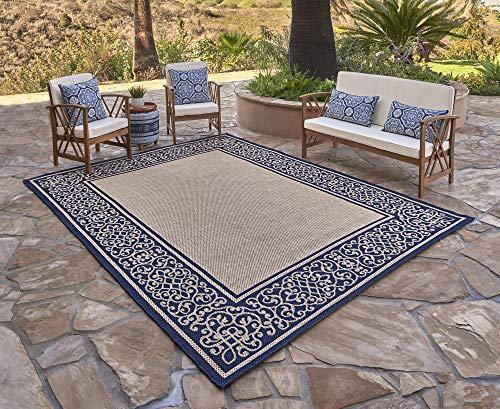 Garden and Outdoor Gertmenian 21574 Patio Rug Outdoor Classics Luxury Furman Porch Outside Area Carpet 5.25 Feet x 7.5 Feet, Abstract… outdoor rugs
