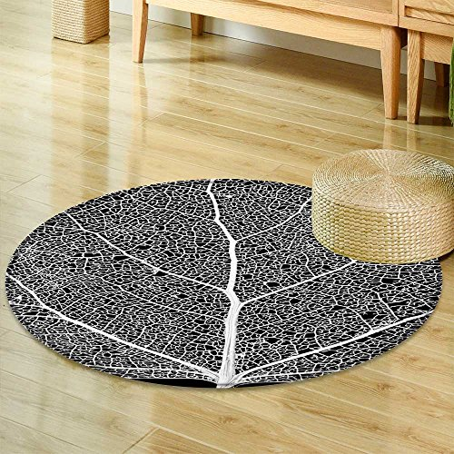 Small Round Rug Carpet Leaf Skeleton Network Close up of a Cottonwood Tree Leaf Skeleton Showing Door mat Indoors Bathroom Mats  Non Slip -Round 55