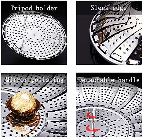 """61QnjjeQtSL. AC Steamer Basket, Stainless Steel Expandable Steamer Basket for Veggie/Seafood Cooking/Boiled Eggs-Folding Steamers to Fits Various Size Pot (6.1"""" to 10.6"""")    Product Description"""