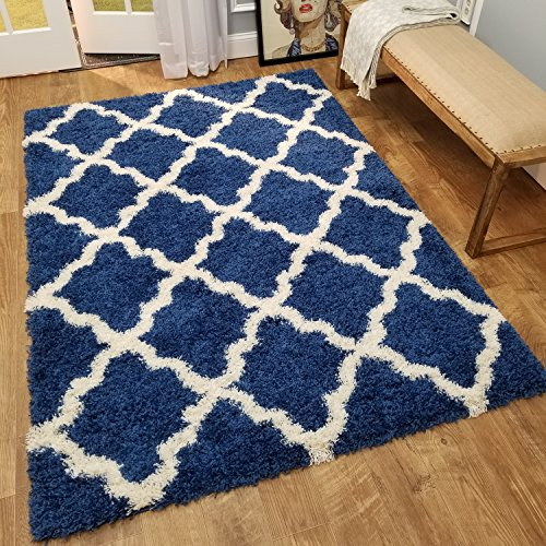 Shag Area Rug 7x10 | New Moroccan Trellis Sapphire Blue Shag Rugs for Living Room Bedroom Nursery Kids College Dorm Carpet by European Made MH10 Maxy Home ()