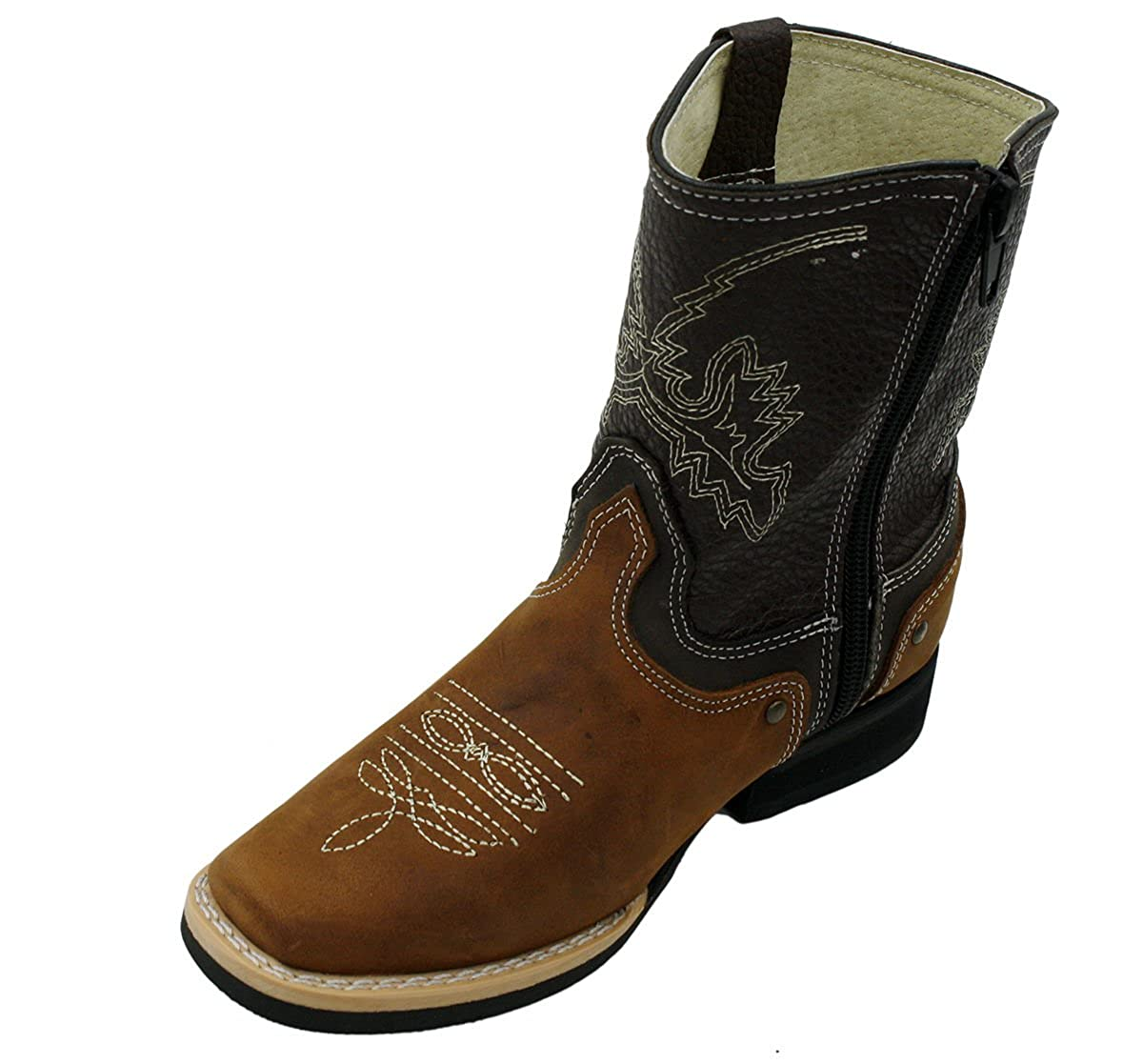 Kids Unisex Genuine Leather Western Rodeo Cowboy Side Zipper Boots Tan Cafe-Toddler-4