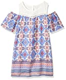 My Michelle Big Girls' Cold Shoulder Dress with Crochet Yoke, Electric Blue, 10