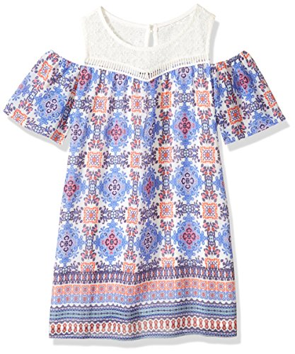 My Michelle Big Girls' Cold Shoulder Dress with Crochet Yoke, Electric Blue, 10 by My Michelle