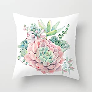 Aremazing Throw Pillow Covers Watercolor Pink Green Succulent Cactus Plant Super Soft Throw Pillow Case Cushion Cover Home Decor 18 x 18 Inches,Wedding Gift (Succulents)