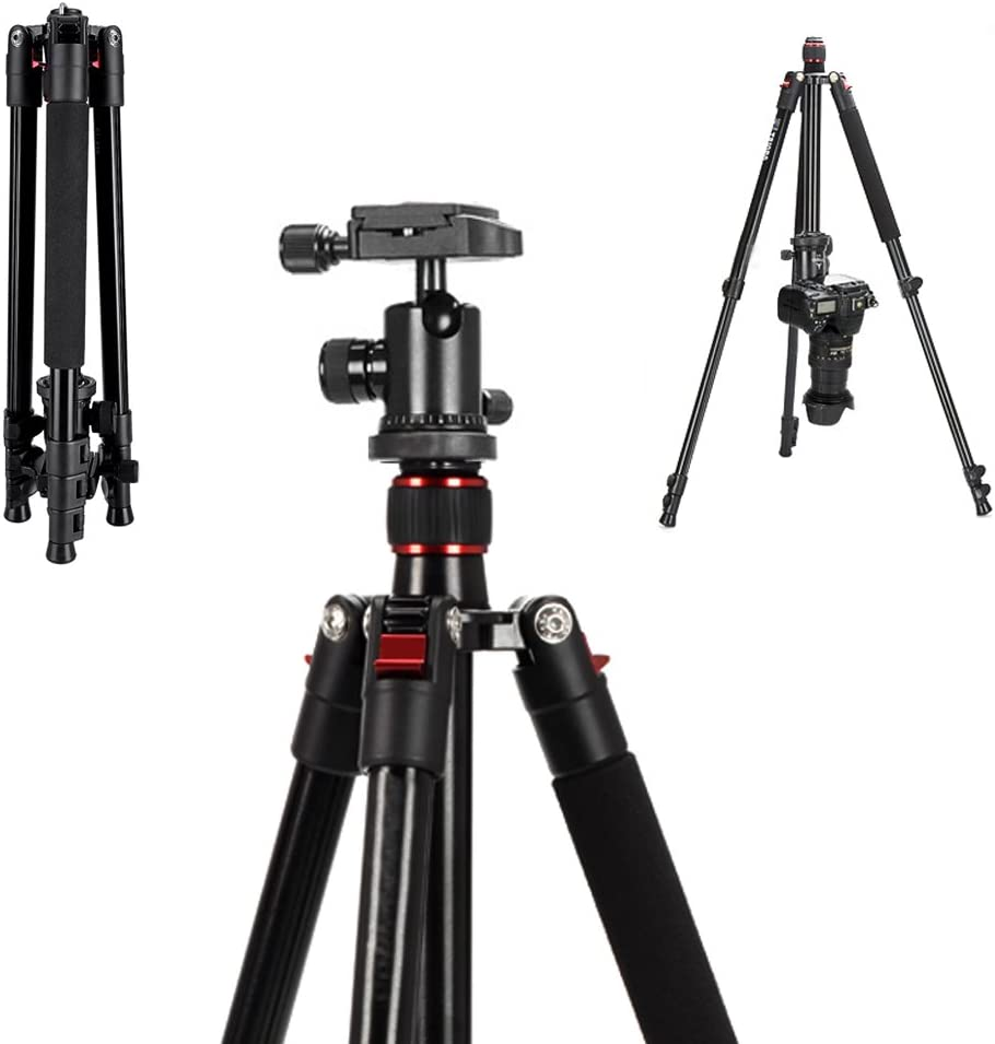 "Mcoplus CT-628 63-inch CameraTripod for DSLR, Aluminium Alloy Portable Lightweight Tripod with 360° Panorama Ball Head,1/4"" Quick Shoe Plate and Carry Bag"