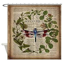 CafePress - Vintage Botanical Dragonfly - Decorative Fabric Shower Curtain