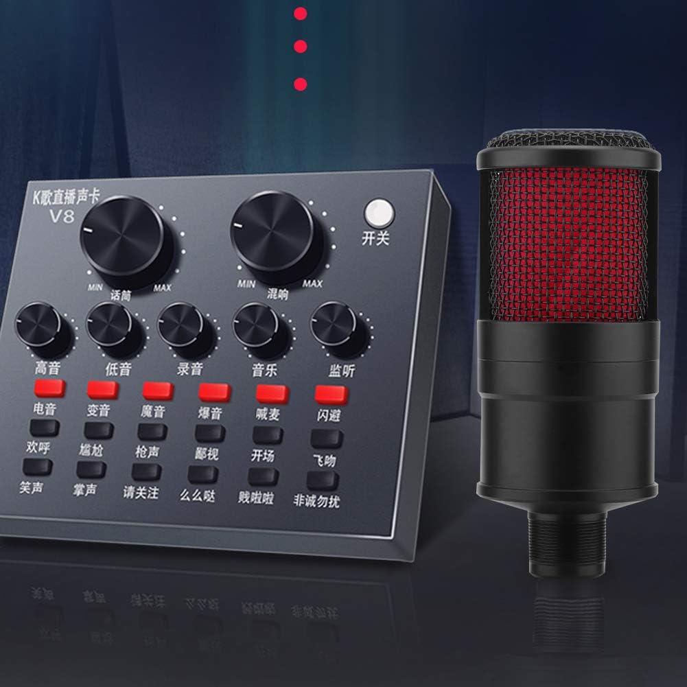 Garsent Micr/ófono de Condensador micr/ófono de Estudio Profesional port/átil con Amplio Rango din/ámico Micr/ófono de Condensador de diafragma Grande para Rendimiento en Vivo.