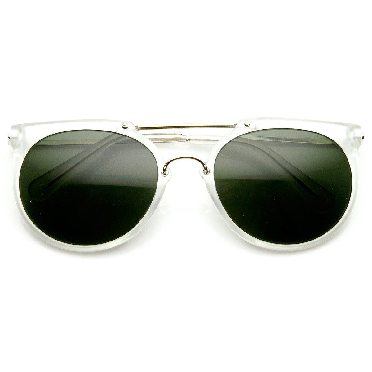 Retro Flat Top Crossbar Double Bridge Round Aviator Sunglasses Frost Green