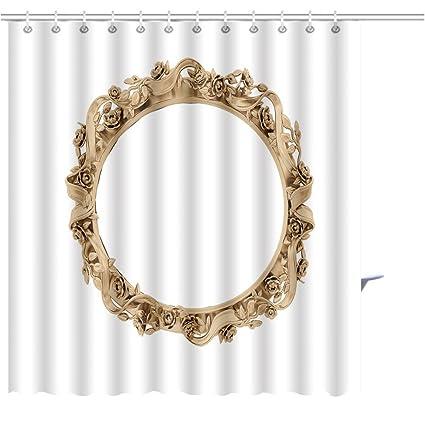 MuaToo Shower Curtain Golden Vintage Frame Antique Mirror Design Retro Element Physical Realistic Reflection Graphic Print