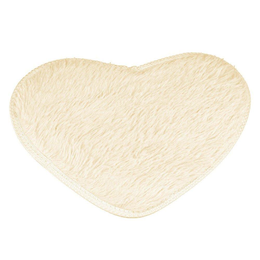 Ecosin Bathroom Rug Toilet Sets and Shaggy Non Slip Machine Washable Soft Microfiber Heart-Shaped (Beige)
