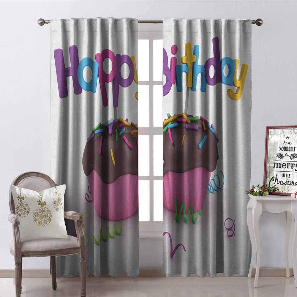 Gloria Johnson Birthday Wear-Resistant Color Curtain 3D Illustration of Chocolate Covered Cupcakes with Greetings Attached Celebration Waterproof Fabric W52 x L84 Inch Multicolor by Gloria Johnson