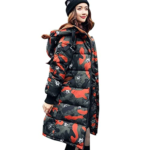 Masterein Mujeres de invierno gruesa capa de terciopelo oído con capucha Parkas caliente de algodón de manga larga recta de cremallera Prendas de abrigo