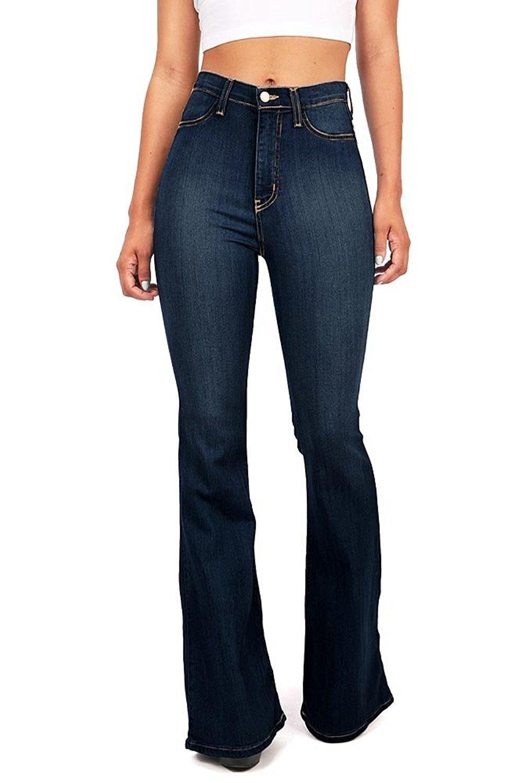 Vibrant Women's Juniors Bell Bottom High Waist Fitted Denim Jeans,Super Dark Denim,5