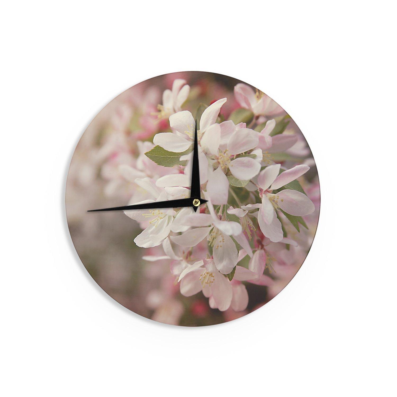 Kess InHouse Angie Turner Apple Blossoms Pink Flower Wall Clock 12 Diameter
