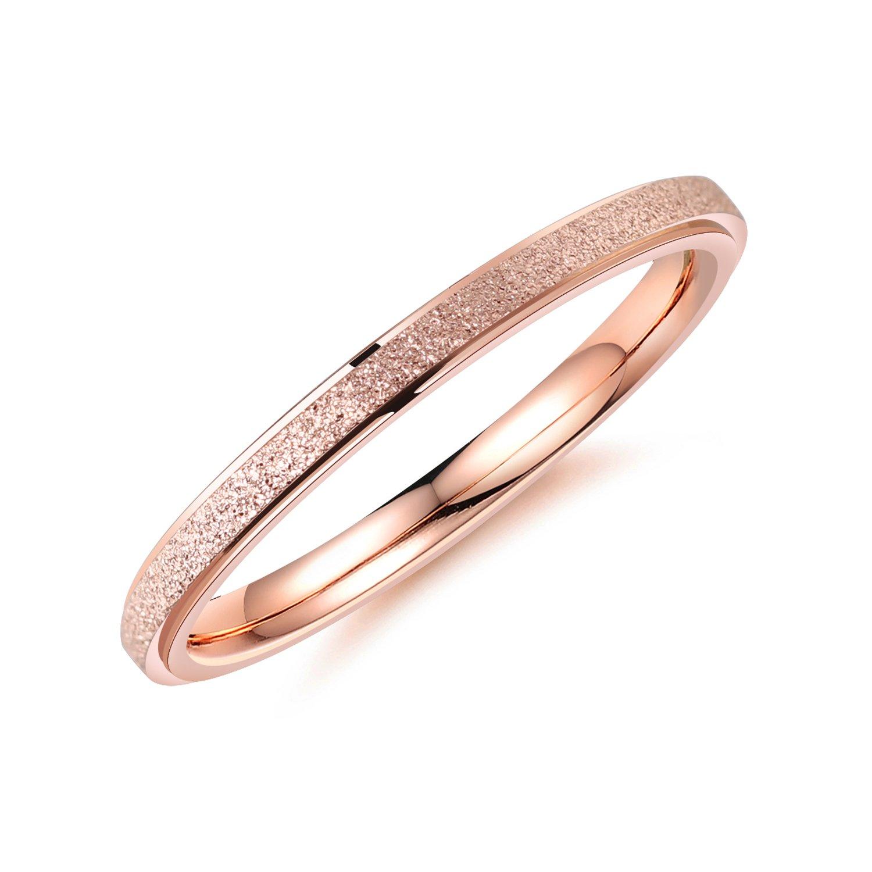 Bijou Fantaisie bigsoho/-/Bague Femme/-/Acier inoxydable sabl/é largeur 2/mm comme cadeau de bague de fian/çailles ou alliance.