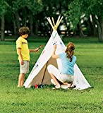 Children's Cotton Canvas Teepee with Wooden Poles - 7'H x 5'W