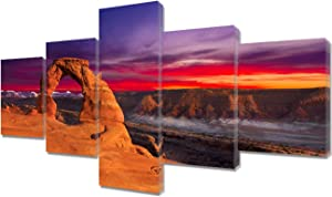 Fankiko Vintage Decor Classic Postcard View of Delicate Arch Pictures Utah, USA Landscape Paintings 5 Panel Canvas Wall Art Artwork Home Decorations for Living Room Framed Ready to Hang(50''Wx24''H)