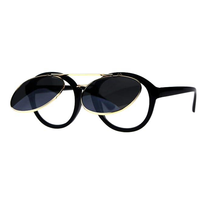Amazon.com: Gafas de sol con lentes transparentes redondas ...