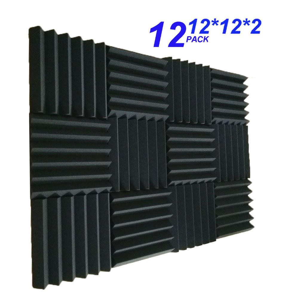 12 Pack- Charcoal Acoustic Panels Studio Foam Wedges 2'' X 12'' X 12'' (12PCS, Black) (30305cm, black) by Burdurry