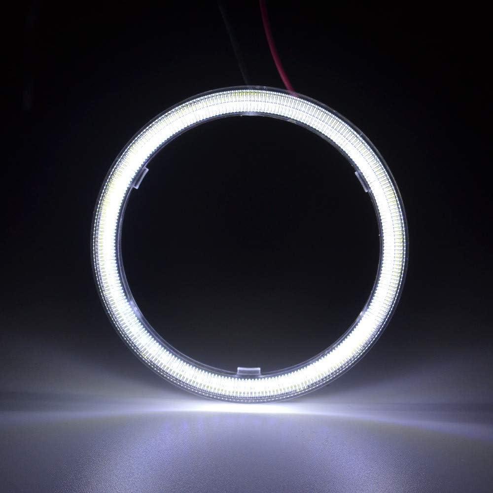 TIDO 2 Pcs White 80MM COB Angel Eyes Car Halo Ring for Headlight,COB DRL Halo Ring Angel Eyes for Motorcycle,12V