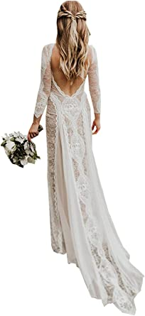 Women S Beach Wedding Dresses For Bride 2020 Vintage Long Sleeves Lace Bohemian Bridal Gown At Amazon Women S Clothing Store