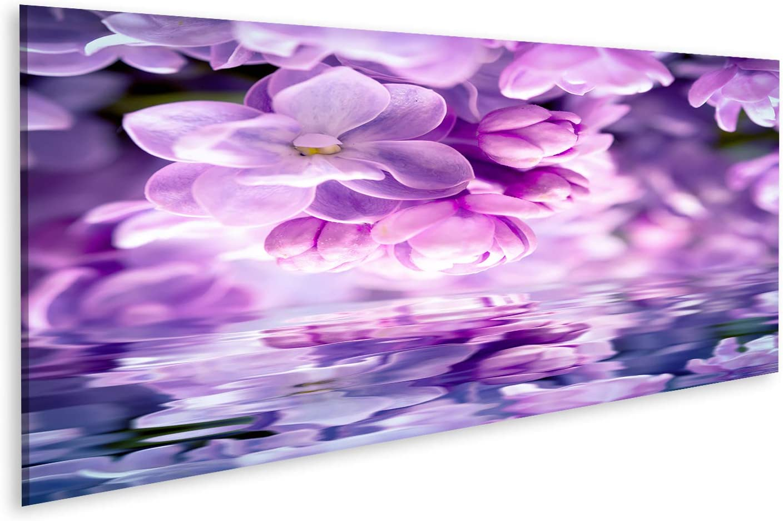 islandburner Cuadro en Lienzo Flor de Lila Fondo de Agua Reflexión de la luz Plantilla de Tarjeta de felicitación Naturaleza de Tono Suave Cuadros Decoracion Impresión Salon