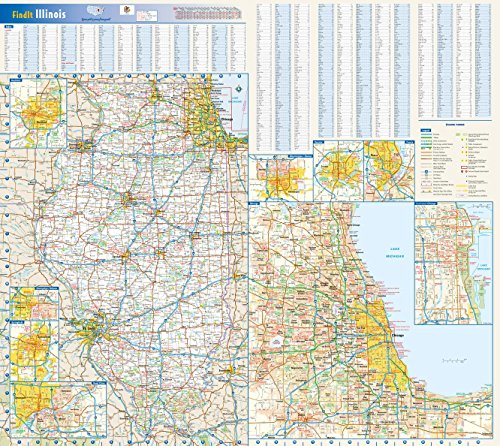 Illinois State Wall Map - 27.75 x 25 inches - Laminated - Flat - State Chicago Street Downtown