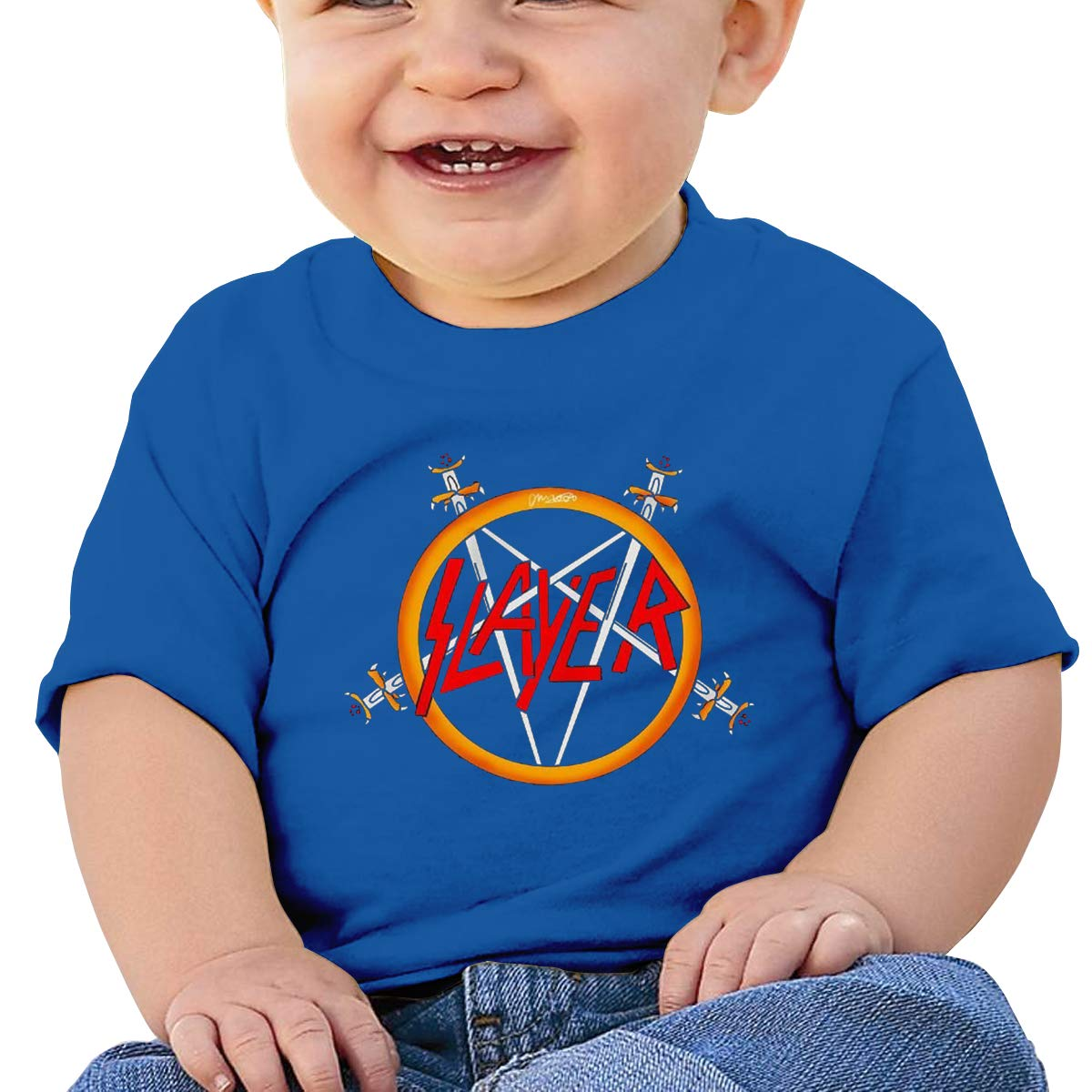 6-24 Month Baby T-Shirt MaNeg Slayer Rock Band New Personality Cool Trend Creation Blue