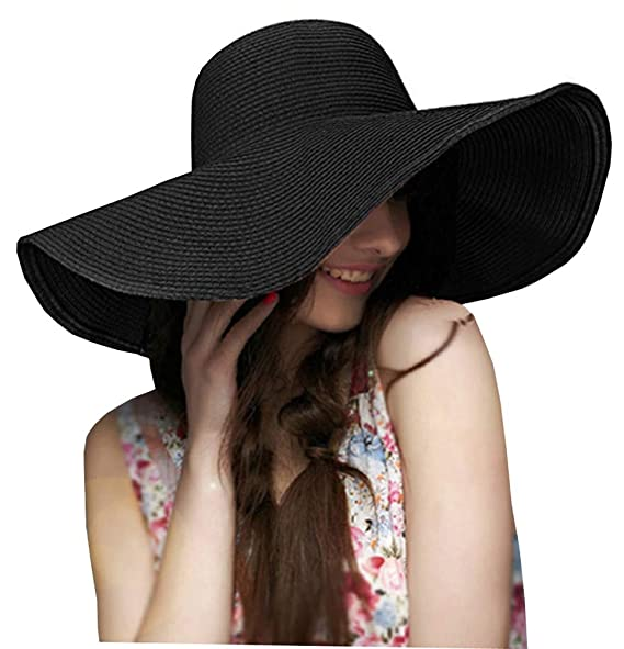 ASSQI Women s Ridge Wide Floppy Brim Summer Beach Sun Hat Straw Cap Party  Garden Travel Black c207f1142d9e