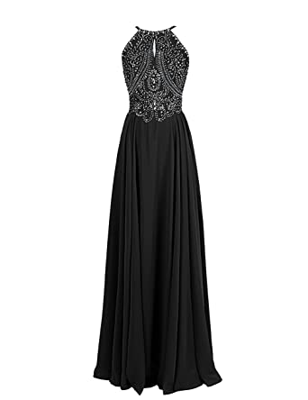 Dressystar Straps Sparkling Formal Gown Beading Prom Evening Dress Backless  Size 2 Black