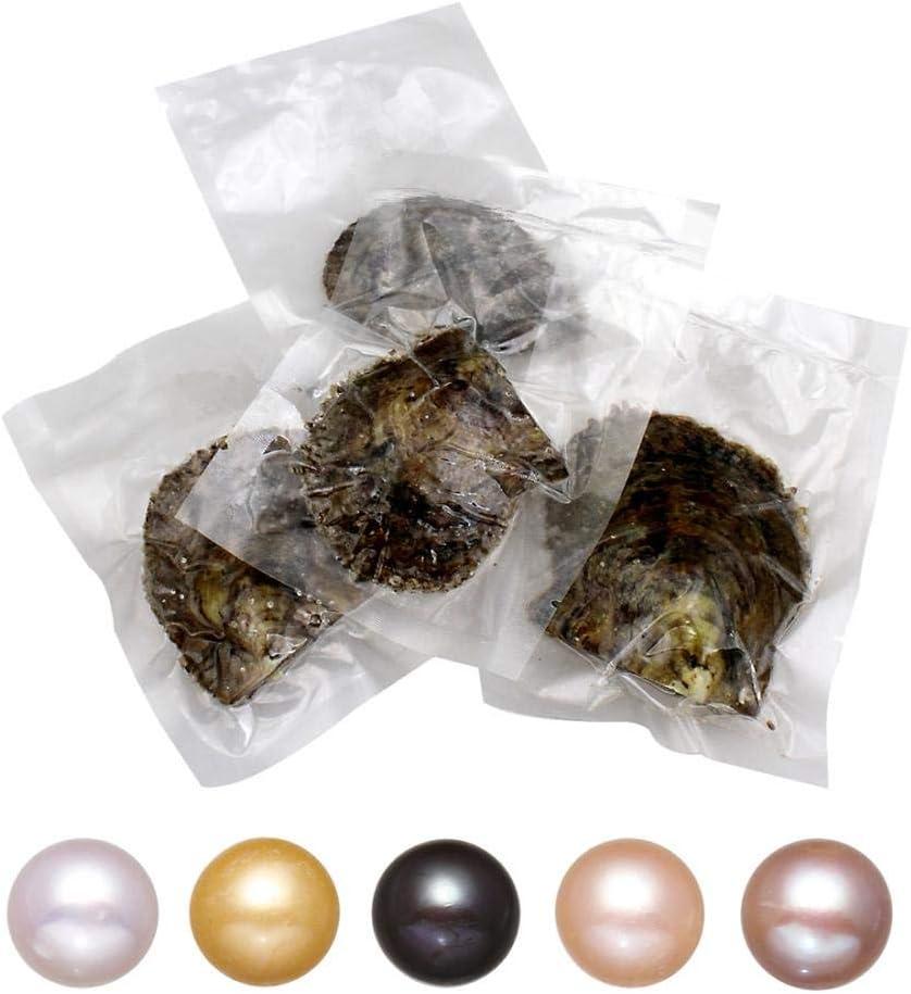 LONGTAP - Ostras de 9 a 10 mm con perlas en el interior de perlas cultivadas de Akoya de agua dulce, mejillón de mar, patata de mejillón, colores mezclados