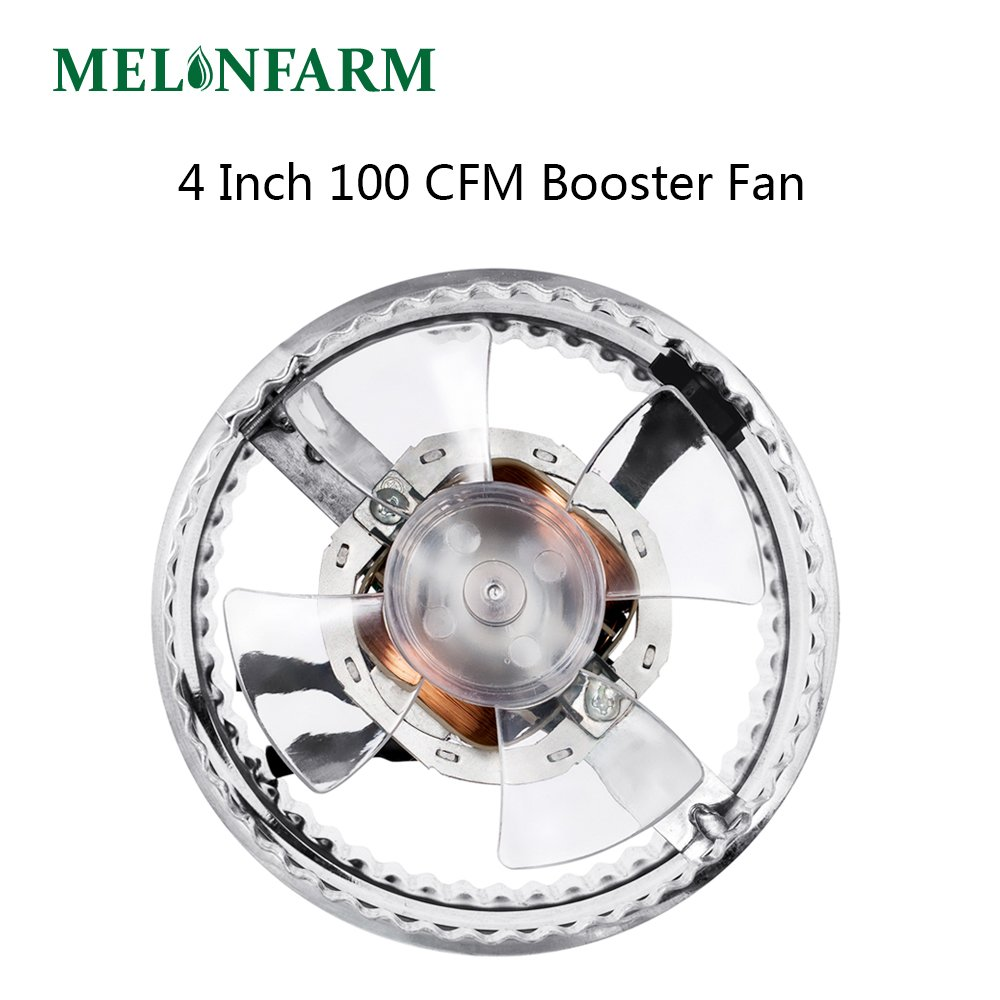 MELONFARM 4 Inch Duct Fan 100 CFM, Low Noise HVAC Metal Booster Blower For Exhaust and Intake Extra Long 6.0' Grounded Power Cord by MELONFARM (Image #1)