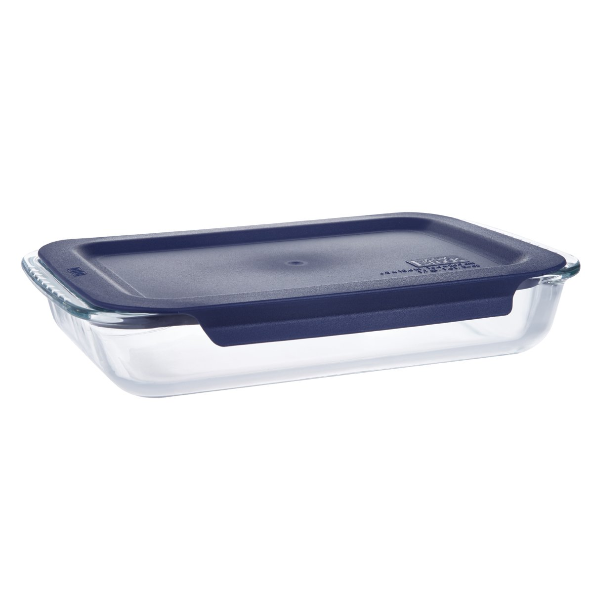 LEXINGWARE 1.5 Quart Glass Bakeware Ovenware Oblong Baking Dish Blue Plastic Lid - 7.7 x 12 inch