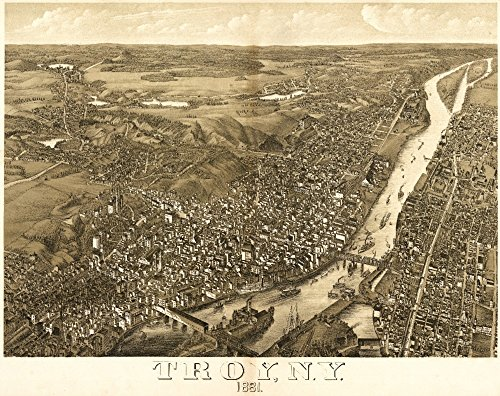 Troy, New York - Panoramic Map (36x54 Giclee Gallery Print, Wall Decor Travel ()