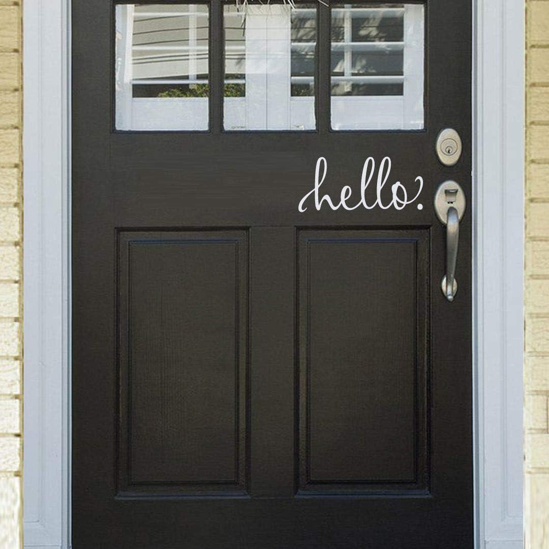 BATTOO White Hello Door Decal Front Door Decal Handwriting Script Vinyl Decal Sticker Cursive Wall Art Door D¡§?cor Hello Sign(9