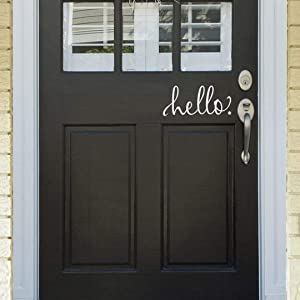 BATTOO White Hello Door Decal Front Door Decal Handwriting Script Vinyl Decal Sticker Cursive Wall Art Door D¡§?cor Hello Sign(9