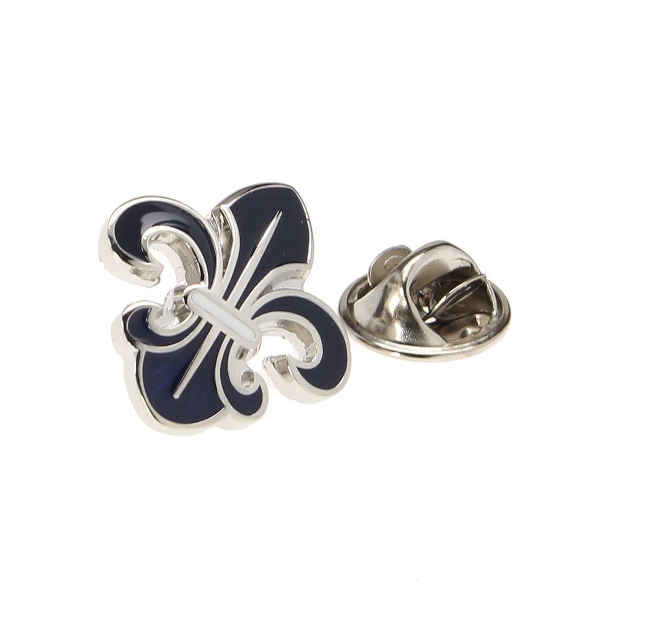 Men's Lapel Pin Tie Tack Silver and Navy Blue Fleur De Lis Elegant Symbol TP158