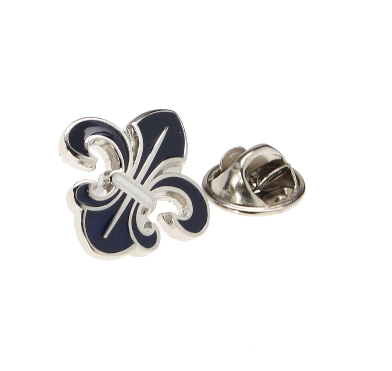 Men's Lapel Pin Tie Tack Silver and Navy Blue Fleur De Lis Elegant Symbol