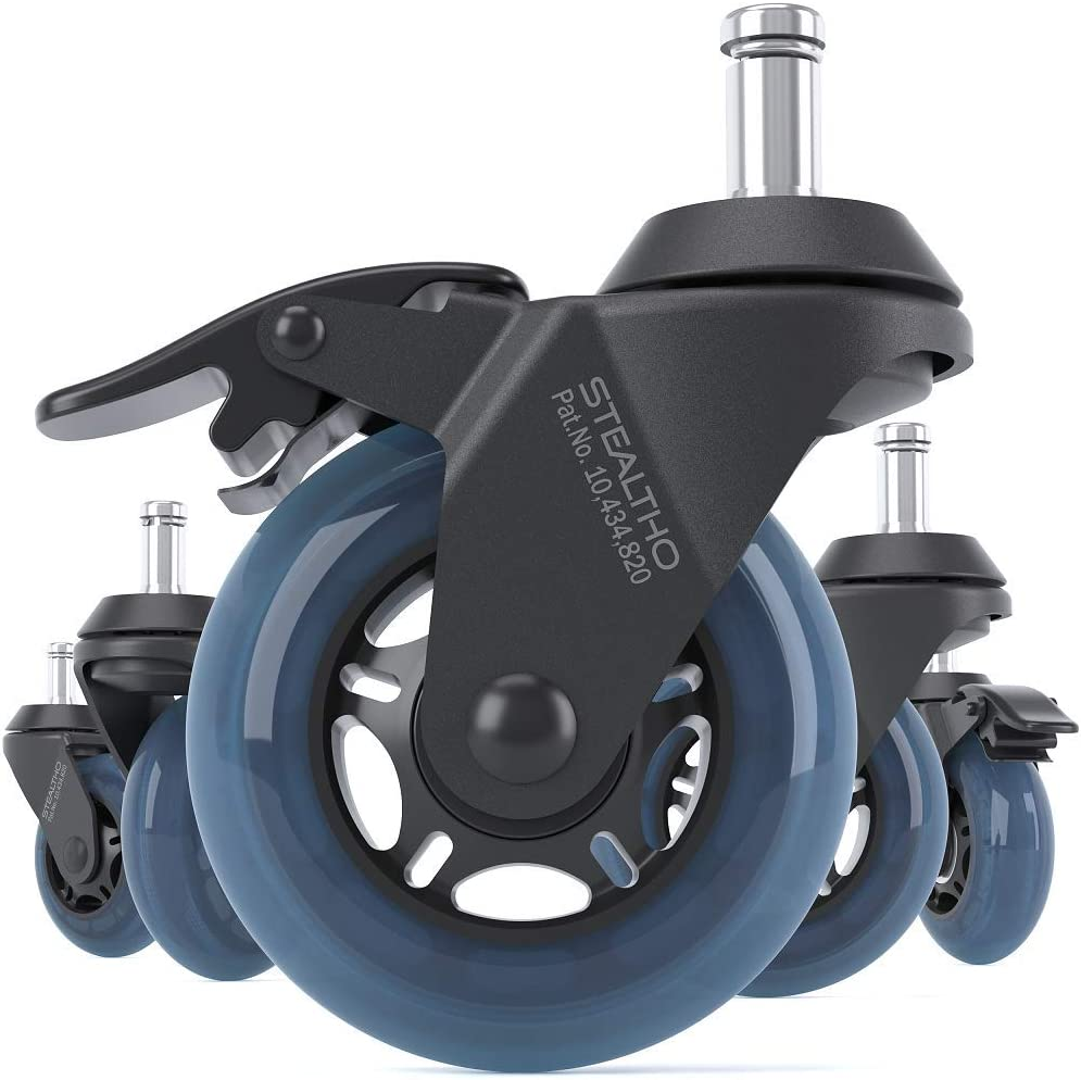 STEALTHO Patented Replacement Office Chair Caster Wheels Set of 5 - Protect Your Floor - Quiet Rolling Over Cables - No More Chair Mat Needed - with Brakes - Blue Polyurethane - Standard Stem 7/16