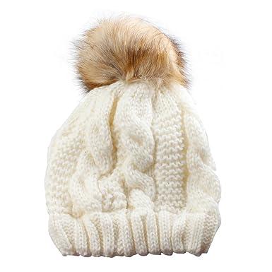 e2d5c72aa71 Cream Chunky Knit Beanie Hat with Pom Pom  Amazon.co.uk  Clothing