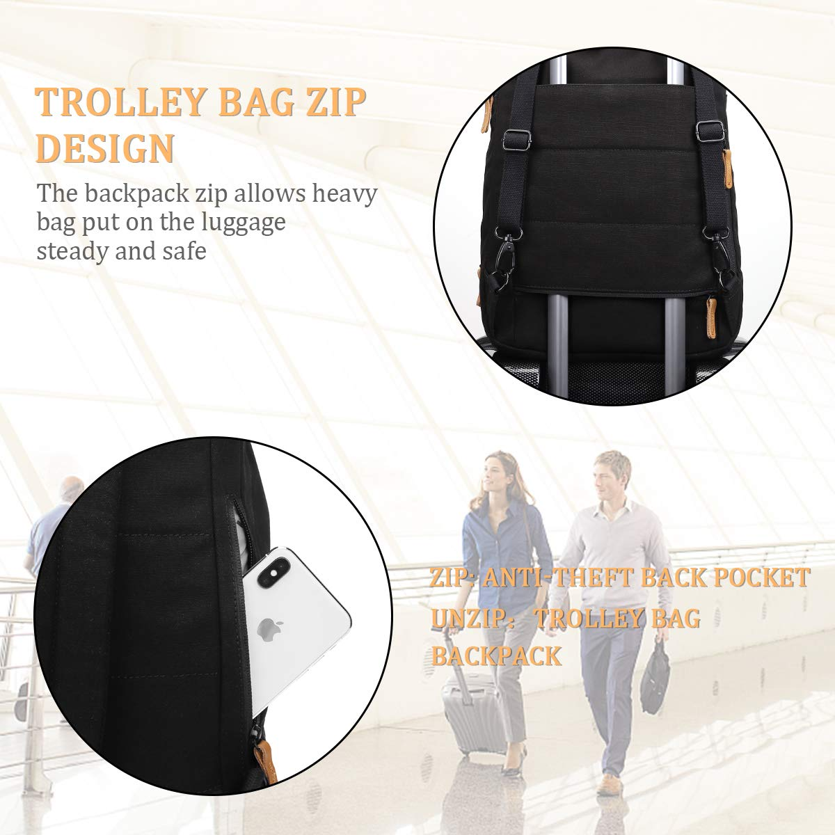 Keenstone Casual Travel Laptop Backpack with 10 Pockets,Max Load 20 KG 17 Litres Cotton Canvas Bag Fits 15.6\