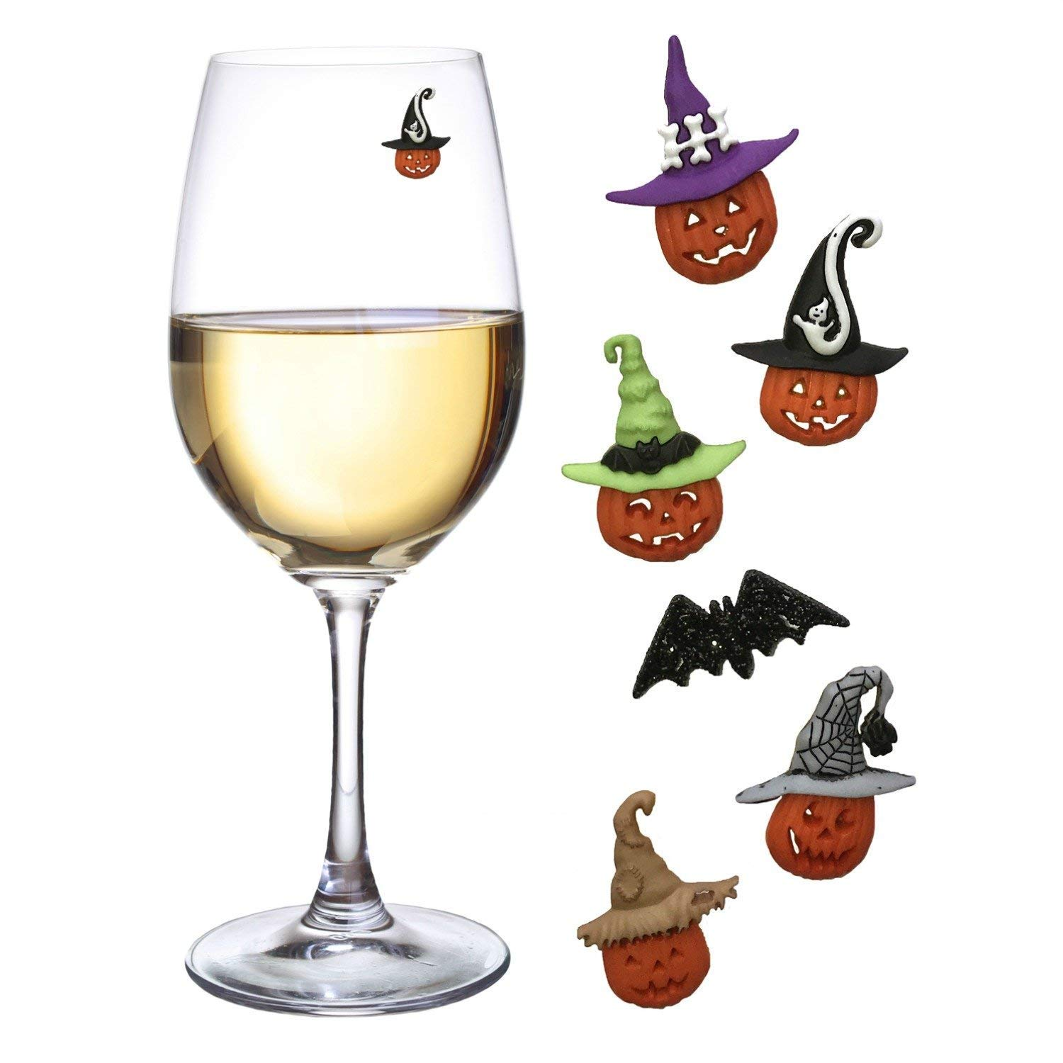 Emoji Wine Charms Magnetic Glass Markers Set of 8 Funny Identifiers for Your Party by Simply Charmed