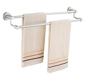 CH Toallero De Aluminio del Espacio de Toallas Dobles Varillas sólidas Base Gruesa Barra de Toalla de baño Accesorios Cuarto de baño toallero: Amazon.es: ...