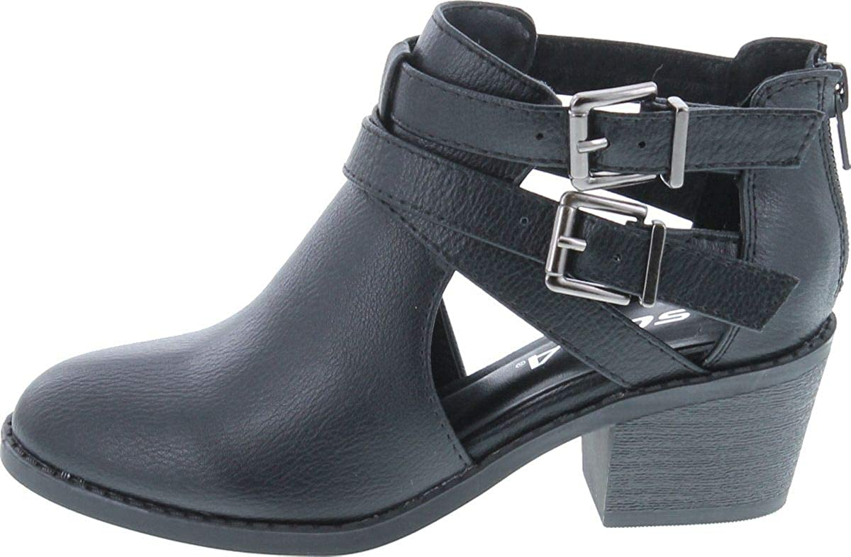 Soda Scribe-2 Girls Kids Ankle Boot Low Heel Bootie Black 4