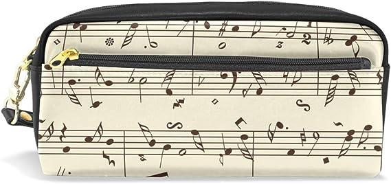 CPYang - Estuche de piel con cremallera para lápices y notas musicales: Amazon.es: Oficina y papelería