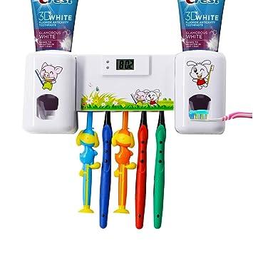 beinghd montado en la pared dispensador de pasta de dientes automático Exprimidor Kits con 5 cepillo