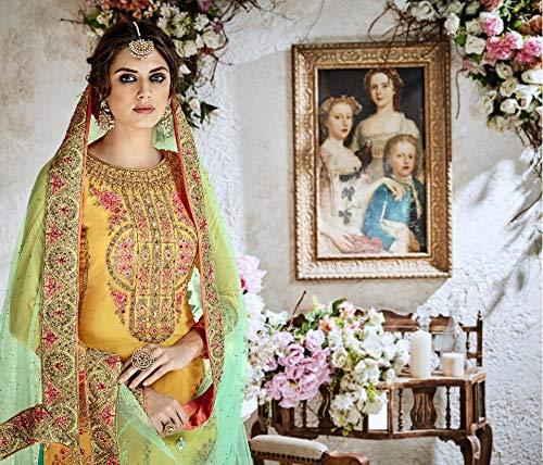 Plaazo Salwar Lavoro Delisa Pesante Pakistani Giallo Kameez Il Georgette Etnica Con Usura wx7RfxA8